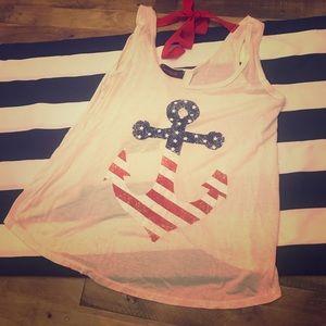 Annabelle American Flag Anchor Split Back Tank S